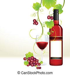 szkło, winogrono, butelka, wino