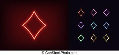 szkic, diament, dzwonek, jarzący się, sylwetka, karta, symbol, neon, garnitur, znak, icon.