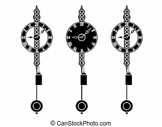 szkic, klasyk, ścienny zegar, bez, czarnoskóry, napełniać