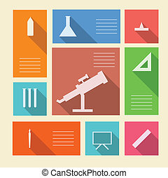 szkoła, barwny, ikony, tekst, wektor, miejsce, zaopatruje