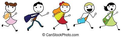 szkoła, chodzenie, dzieci, rysunek, wtykać
