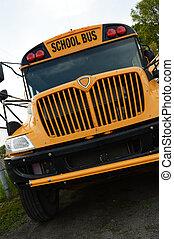 szkoła, niski, autobus, kąt