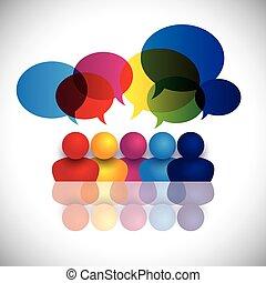 szkoła, pojęcie, biuro, dzieciaki, mówiąc, wektor, spotkanie, albo, personel
