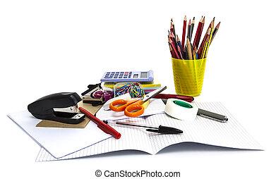 szkoła, pojęcie, biuro, odizolowany, wstecz, white., stacjonarny