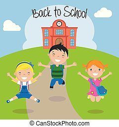 szkoła, powrót, dzieci, szczęśliwy