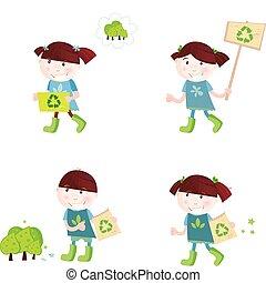 szkoła, recycling, poparcie, dzieci