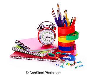 szkoła, supplies., sztuka