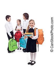 szkoła, szczęśliwy, grupa, dzieciaki