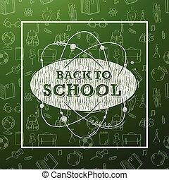 szkoła, sztuka, biurowe ikony, nauka, wstecz, struktura, wykształcenie, obiekty, zielone tło, zaopatruje, kreska, chorągiew