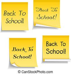 szkoła, tekst, notatki, wstecz, żółty, lepki
