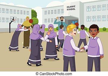 szkoła, wakacje, muslim, dzieci, plac gier i zabaw, podczas, interpretacja