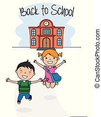 szkoła, wstecz, karta