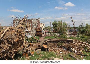 szkoda, drzewa, ef5, cyklon, &, dom