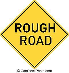 szorstki, ostrzeżenie znaczą, płaski, żółty, tło., diamond., droga, niebezpieczeństwo, biały, symbol., roadsign, style.