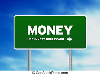 szosa znaczą, pieniądze, zielony