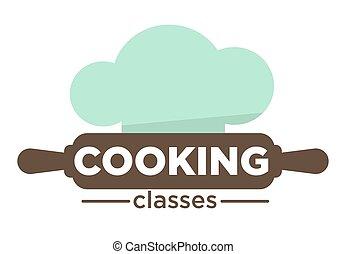 szpilka, gotowanie, odizolowany, mistrz kucharski, klasy, kołyszący, kapelusz, ikona