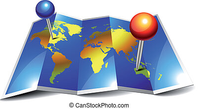 szpilki, świat, fałdowy, mapa