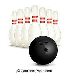 szpilki, biała piłka, odizolowany, gra w kule