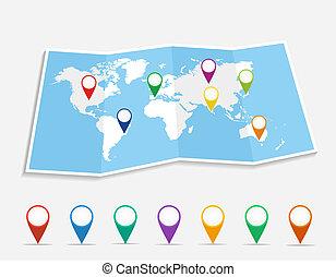 szpilki, położenie, file., geo, eps10, wektor, światowa mapa