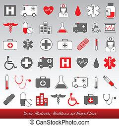 szpital, healthcare, ikony