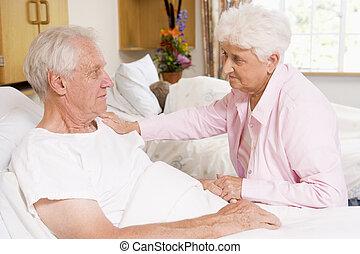 szpital, para, senior, posiedzenie