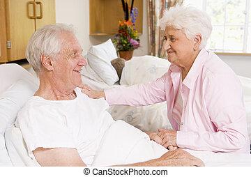 szpital, para, senior, razem, posiedzenie