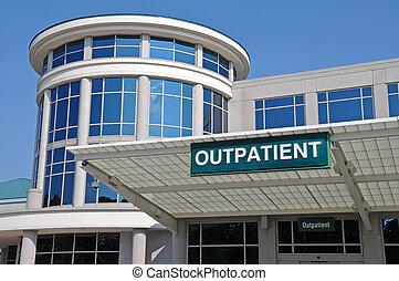 szpital, znak, wejście, outpatient