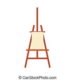 sztaluga, czysty, sztuka, wyposażenie, malarstwo, tło, biały, odizolowany, -, artysta