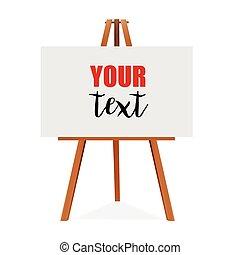sztaluga, kanwa., przestrzeń, drewniany, presentation., do góry, wektor, projektować, opróżniać, czysty, gotowy, reklama, twój, kpić, illustration.