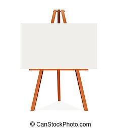 sztaluga, kanwa., przestrzeń, drewniany, presentation., do góry, wektor, reklama, czysty, gotowy, twój, kpić, illustration.