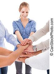 sztaplując, ludzie, grupa, ręka