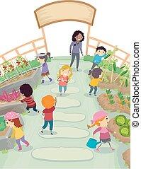 sztubacy, stickman, ogród, ilustracja