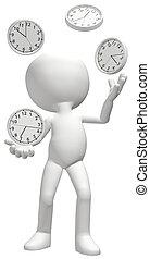 sztuczki, kuglarz, harmonogram, poradzić sobie, clocks, czasowy zegar