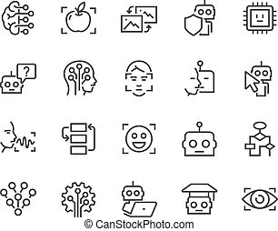 sztuczny, kreska, inteligencja, ikony