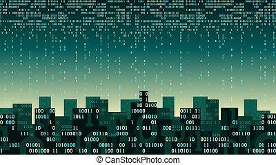 sztuczny, magazynowanie, potok, internet, związany, dane, miasto, mądry, chmura, technologia, sieć, -, potok, cyfrowy, rzeczy, cielna, inteligencja, abstrakcyjny, futurystyczny, dwójkowy, pojęcie, dane