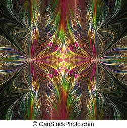 sztuka, abstrakcyjny, projekt, czarne tło, fractal