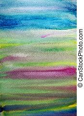 sztuka, barwiony, ręka, akwarela, tło, pasiasty, twórczy