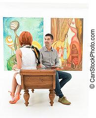 sztuka, barwny, obrazy, ludzie, patrząc, ganek