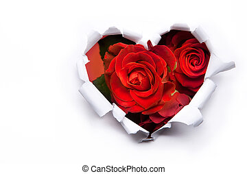 sztuka, bukiet, valentine, róże, papier, serca, dzień, czerwony
