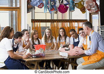 sztuka, dookoła, posiedzenie, nauczyciel, dzieci w wieku szkolnym, stół, klasa