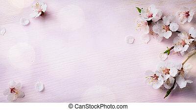 sztuka, drewniany, wiosna, blooming;, tło, kwiaty