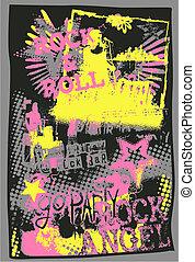 sztuka graffiti, muzyka, hukiem