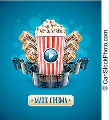 sztuka, kino, film, oglądając, online, popcorn