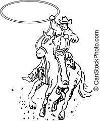 sztuka, kowboj, rodeo, western, kreska, jeździec