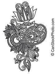 sztuka, kreska, kwiat, projektować, ozdobny