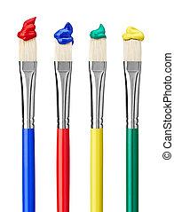 sztuka, kunszt, szczotka, malować