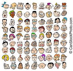 sztuka, ludzie, doodle, ikony, twarz, litery, wyrażenie, rysunek, szczęśliwy