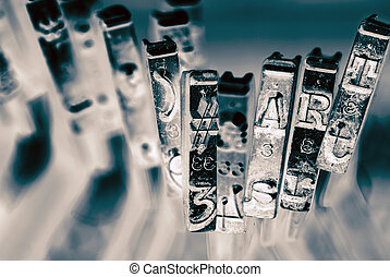 #, sztuka, makro, monochromia, stary, maszyna do pisania