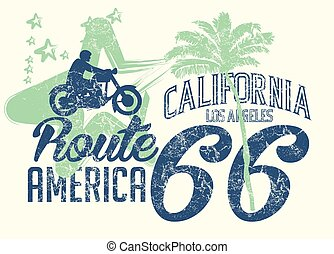 sztuka, marszruta, wektor, kalifornia, retro, 66