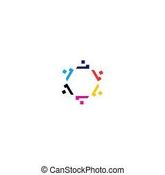 sztuka, odizolowany, biały, dzieło, logo, razem, barwny, ludzie, symbol, znak